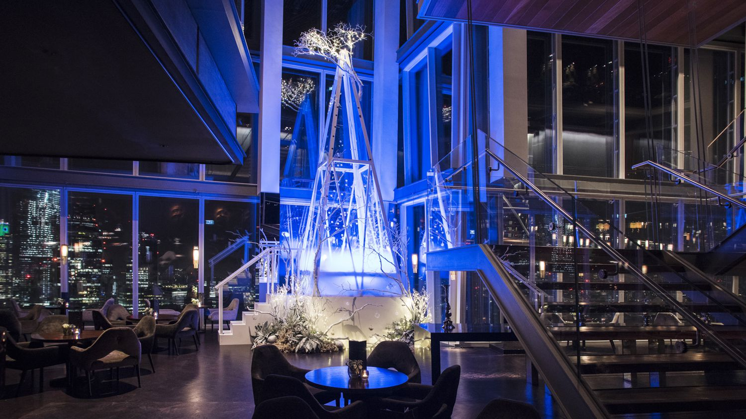 A Christmas Tree in the Aqua Shard restaurant